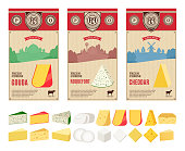Vector cheese vintage labels with farming landscape and different types of cheese detailed icons. Dairy products illustration for dairies, farms and groceries branding. Cow, sheep and goat silhouettes