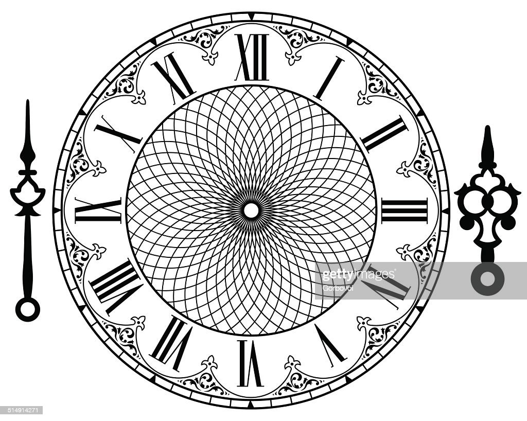 Line Drawing Clock Face : Vector vintage clock art getty images