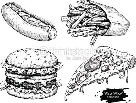 Vector Vintage Fast Food Drawing Set Stock Vector Thinkstock