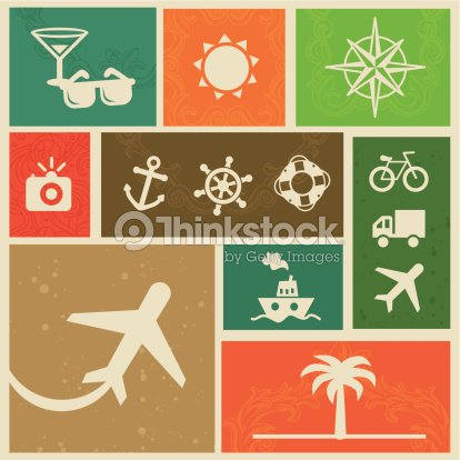 Vector Vintage Labels With Travel Signs And Symbols Vector Art