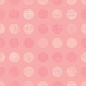 Vector Vintage Pastel Salmon Pink Baby Girl Dots Circles Seamless Pattern Background With Fabric Texture. Perfect for nursery, birthday, circus or fair themed designs. Surface pattern design.