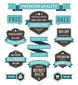 Vector vintage sale labels and ribbons set design elements Premium quality, discount, price illustrations