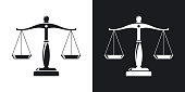 Vector vintage scales of justice icon. Two-tone version on black and white background