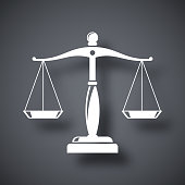 Vector vintage scales of justice icon on dark gray background with a shadow