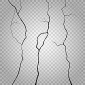Vector wall cracks on transparent checkered background. Crack rough, effect crack wall, surface crack or break wall, destruction wall illustration