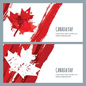 Vector watercolor banners and backgrounds. 1st of July, Happy Canada Day. Watercolor hand drawn canadian flag with maple leaf. Design for greeting card, holiday banner, flyer, poster.