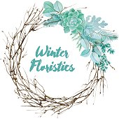 Winter watercolor floristic composition made of succulents and silver leaves. Vector decorative element for your design. Succulent watercolor border.