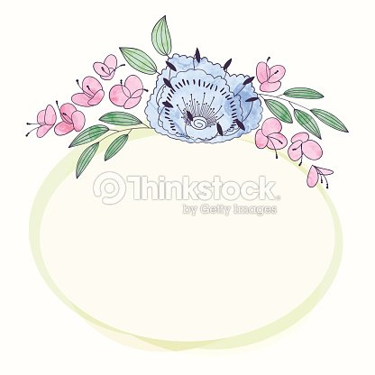 Vector Watercolor Round Flower Frame Hand Draw Floral Border Art
