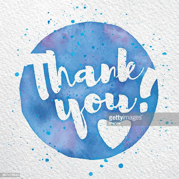 Vector Watercolor Thank You Script