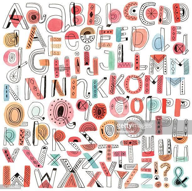Vector watercolour and pencil doodle alphabet