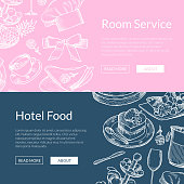 Vector web banner poster templates with hand drawn restaurant or room service elements illustration