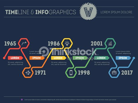 Vector Web Template Of Infographic Timeline With Icons Vector Art – Timeline Website Template