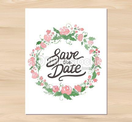 Vektor Hochzeit Einladung Mit Aquarell Blumen Und Hand Drawn
