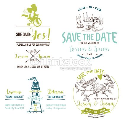 Vector wedding vintage set save the date wedding invitation vector vector wedding vintage set save the date wedding invitation vector art stopboris Gallery