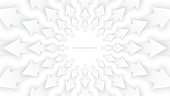 Vector White 3D Arrows with Soft Shadow Radial Composition Diverging in Outward Direction Abstract Bright Conceptual Illustration
