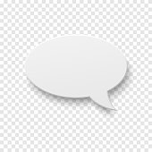 Vector white blank paper speech bubble on transparent background. Realistic 3d illustration. Template for your design.