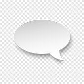Vector white blank paper speech bubble on transparent background. Realistic 3d illustration. Oval shape. Template for your design.