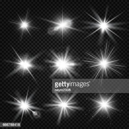 Vector white burst rays, glowing light, stars bursts with sparkles isolated on transparent background : Vector Art