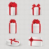 Vector white gift box with red bow set isolated on transparent background. Design template, EPS10 illustration.
