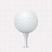 Vector white realistic golf ball template on tee - isolated. Design template, EPS10 illustration.