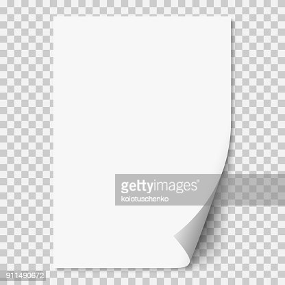 Vector white realistic paper page with curled corner. : stock vector