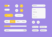 Vector white UI Kit set. Vector flat design ui kit for webdesign. Style flat ui kit design set for web design. Flat buttons, menu, progress bar. EPS 10