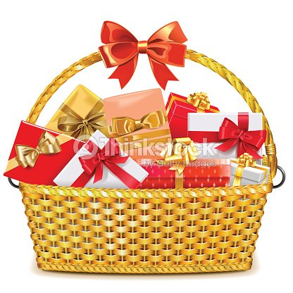 Vector Wicker Basket with Gifts : stock vector