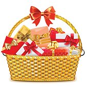 Vector wicker basket with gift boxes, isolated on white background