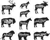 Vector wild animals silhouettes. Wild life adventures icons for tourism organizations, outdoor journey events and camping leisure