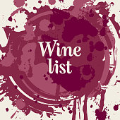 Vector wine list in the form of spots and splashes of red wine with calligraphic inscription