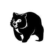 black wombat on white background. vector image. wombat logo