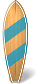 Wood surf board Summer Surfing Isolated realistic surfboard. Vector illustration