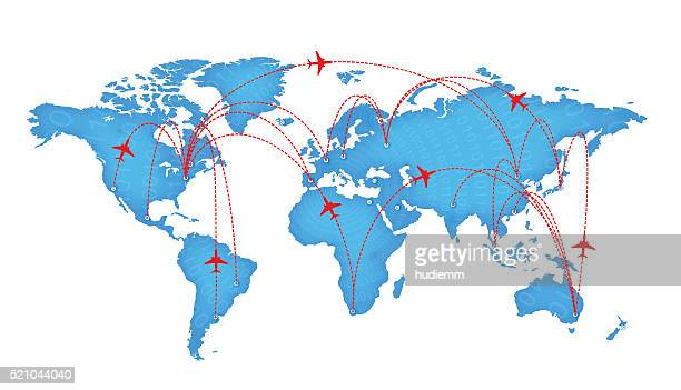 Vector world map and global airline