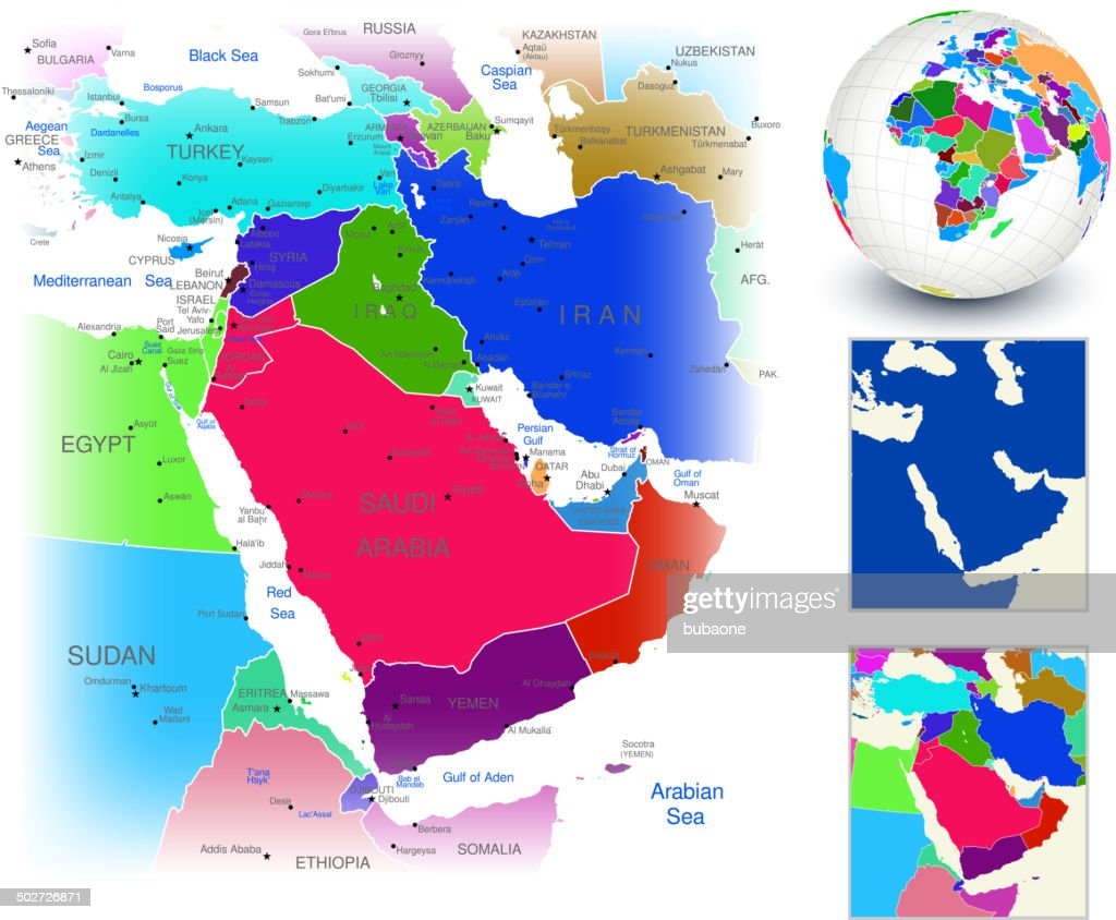 Vector World Map Geography Of Middle East Vector Art Getty Images - World map geography