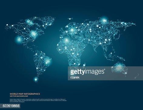 Vektor Welt Karte Abbildung mit Glühend Punkte und Linien. : Vektorgrafik