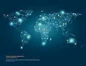 Vector world map illustration with glowing points and lines.