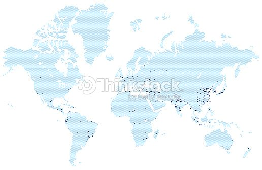 Vector world map stylized using hexagons with the biggest cities vector world map stylized using hexagons with the biggest cities infographic illustration vector gumiabroncs Choice Image