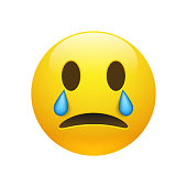Vector yellow crying emoticon with opened eyes and mouth on white background. Glossy funny cartoon Emoji icon. 3D illustration for chat or message.