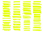 Vector yellow highlighter brush lines. Hand drawing.