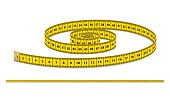Vector yellow realistic measuring tape, strap for clothing isolated on white background. Design template, EPS10 illustration.