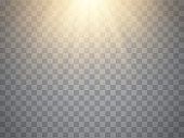 Vector sunlight effect. Sun beams or rays isolated on transparent background