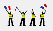Vector yellow vest protestors illustration. Men silhouettes.
