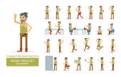 Vector young adult hipster man in tank top shirt ready-to-use character casual poses set in flat style. Full length, gestures, emotions, front, side, back view.