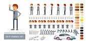 Vector young adult man in business suit do-it-yourself creation kit. Full length, gestures, emotions - all character constructor elements for building your own design for infographic illustrations.