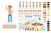 Vector young adult man in pullover do-it-yourself creation kit. Full length, gestures, emotions - all character constructor elements for building your own design for infographic illustrations.