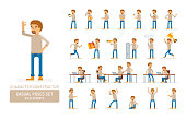 Vector young adult man in pullover ready-to-use character casual poses set in flat style. Full length, gestures, emotions, front, side, back view.