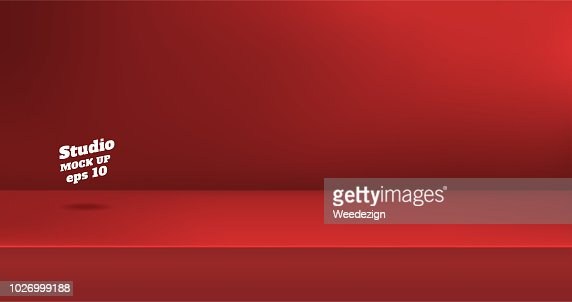Vector,Empty vivid red color studio table room background ,product display with copy space for display of content design.Banner for advertise product on website. : arte vetorial