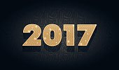New Year's figures 2017 golden metallic foil pattern texture background festive
