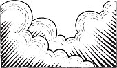 Vector Illustration of a Scratchboard Style Ink Drawing of Clouds