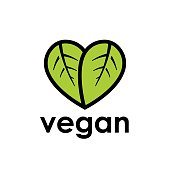 Healthy vegan diet icon concept with green leaf in heart shape. Vector illustration.